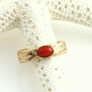 Stretch Gold Mesh Coral Ring Band Size 6.5-10